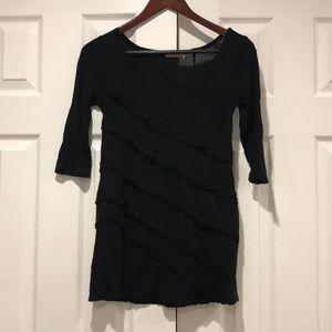 Juicy Couture Black T-Shirt Ruffle Top Sz P Small
